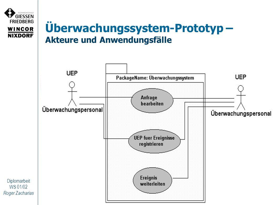 Roger Zacharias Diplomarbeit WS 01/02 Überwachungssystem-Prototyp – Akteure und Anwendungsfälle