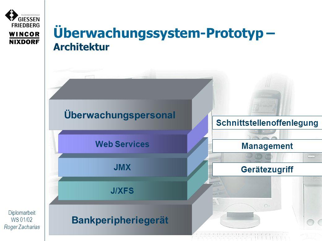 Roger Zacharias Diplomarbeit WS 01/02 Überwachungssystem-Prototyp – Architektur Bankperipheriegerät J/XFS JMX Web Services Überwachungspersonal Geräte