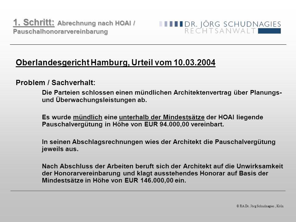 Oberlandesgericht Hamburg, Urteil vom 10.03.2004 Problem / Sachverhalt: Die Parteien schlossen einen mündlichen Architektenvertrag über Planungs- und