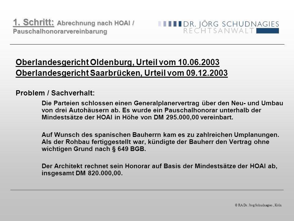Oberlandesgericht Oldenburg, Urteil vom 10.06.2003 Oberlandesgericht Saarbrücken, Urteil vom 09.12.2003 Problem / Sachverhalt: Die Parteien schlossen