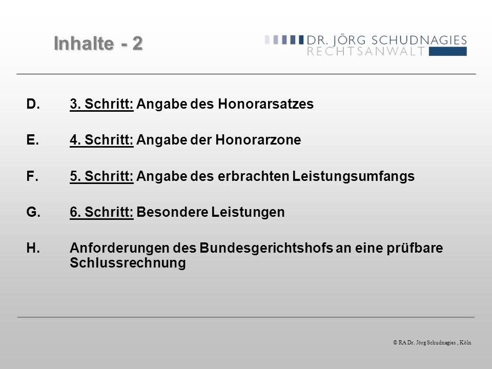 A. Überblick über die HOAI © RA Dr. Jörg Schudnagies, Köln