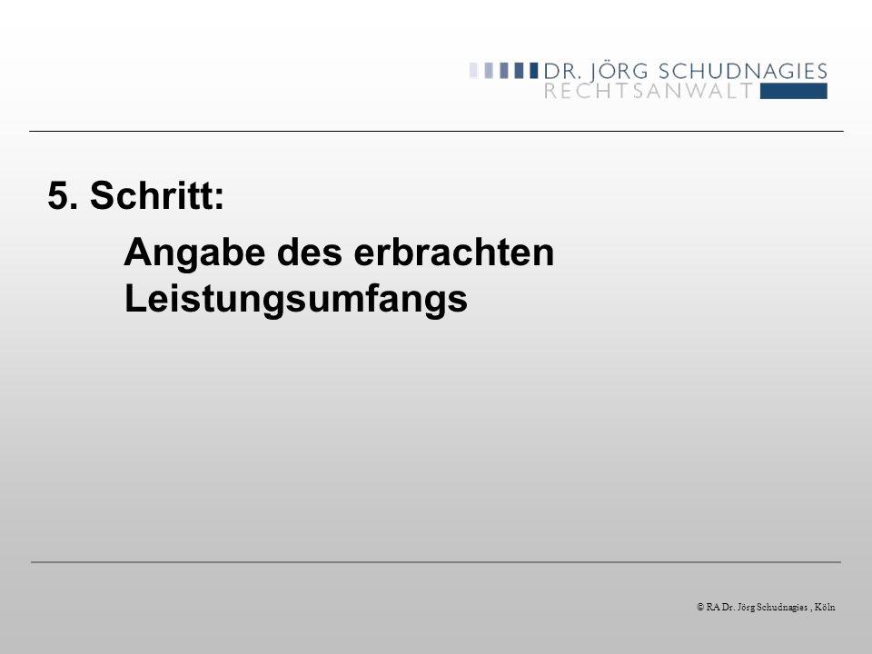 5. Schritt: Angabe des erbrachten Leistungsumfangs © RA Dr. Jörg Schudnagies, Köln