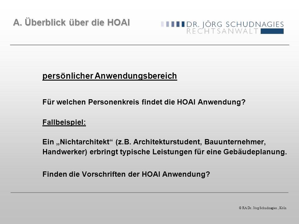 persönlicher Anwendungsbereich Für welchen Personenkreis findet die HOAI Anwendung? Fallbeispiel: Ein Nichtarchitekt (z.B. Architekturstudent, Bauunte