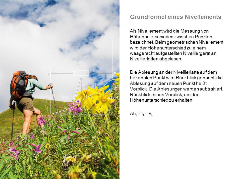 Grundformel eines Nivellements Als Nivellement wird die Messung von Höhenunterschieden zwischen Punkten bezeichnet.