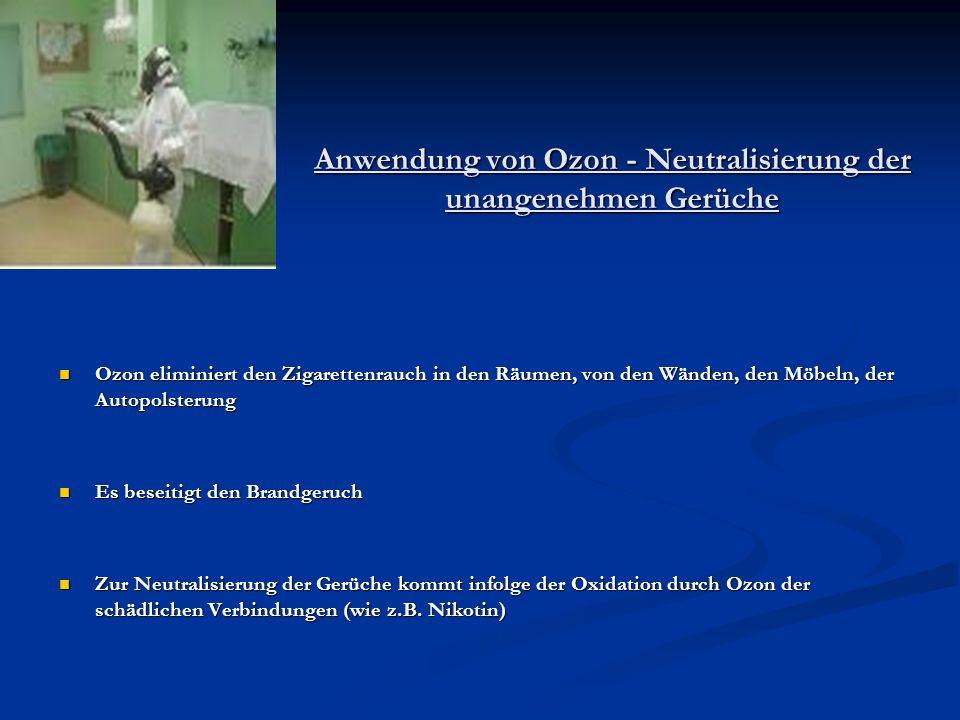 Anwendung von Ozon - Neutralisierung der unangenehmen Gerüche Ozon eliminiert den Zigarettenrauch in den Räumen, von den Wänden, den Möbeln, der Autop