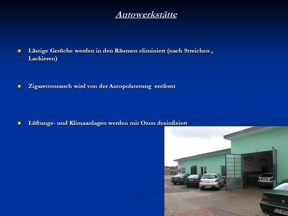 Autowerkstätte Lästige Gerüche werden in den Räumen eliminiert (nach Streichen, Lackieren) Lästige Gerüche werden in den Räumen eliminiert (nach Strei