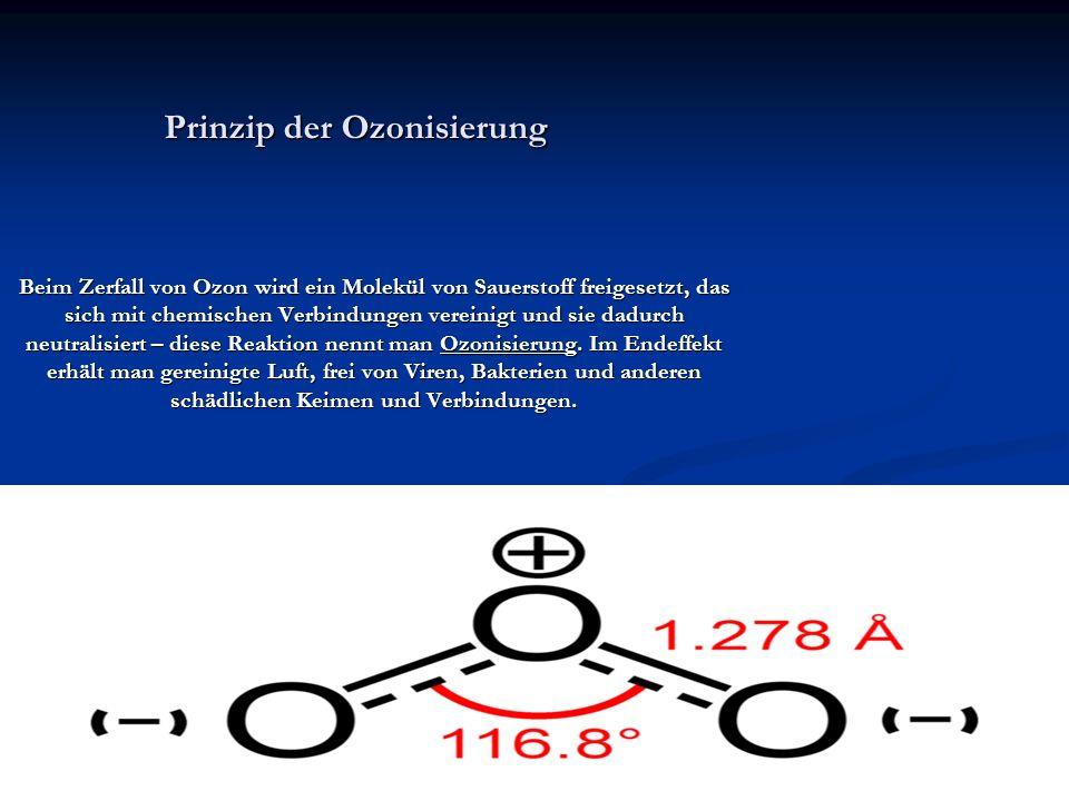 Prinzip der Ozonisierung Beim Zerfall von Ozon wird ein Molekül von Sauerstoff freigesetzt, das sich mit chemischen Verbindungen vereinigt und sie dad