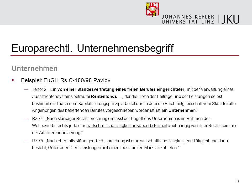 11 Europarechtl. Unternehmensbegriff Unternehmen Beispiel: EuGH Rs C-180/98 Pavlov Tenor 2: Ein von einer Standesvertretung eines freien Berufes einge