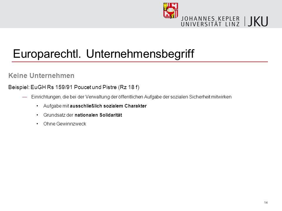 14 Europarechtl. Unternehmensbegriff Keine Unternehmen Beispiel: EuGH Rs 159/91 Poucet und Pistre (Rz 18 f) Einrichtungen, die bei der Verwaltung der