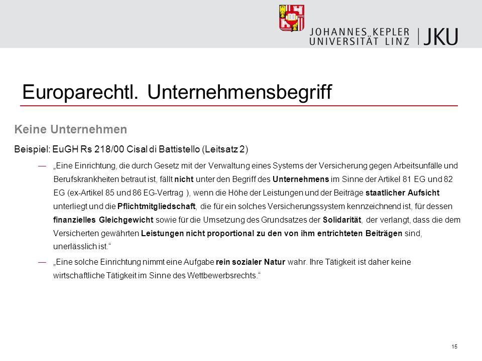 15 Europarechtl. Unternehmensbegriff Keine Unternehmen Beispiel: EuGH Rs 218/00 Cisal di Battistello (Leitsatz 2) Eine Einrichtung, die durch Gesetz m