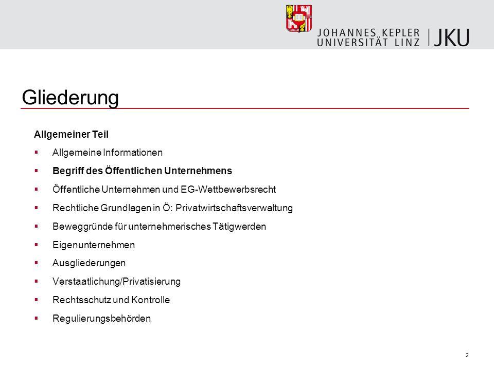 2 Gliederung Allgemeiner Teil Allgemeine Informationen Begriff des Öffentlichen Unternehmens Öffentliche Unternehmen und EG-Wettbewerbsrecht Rechtlich