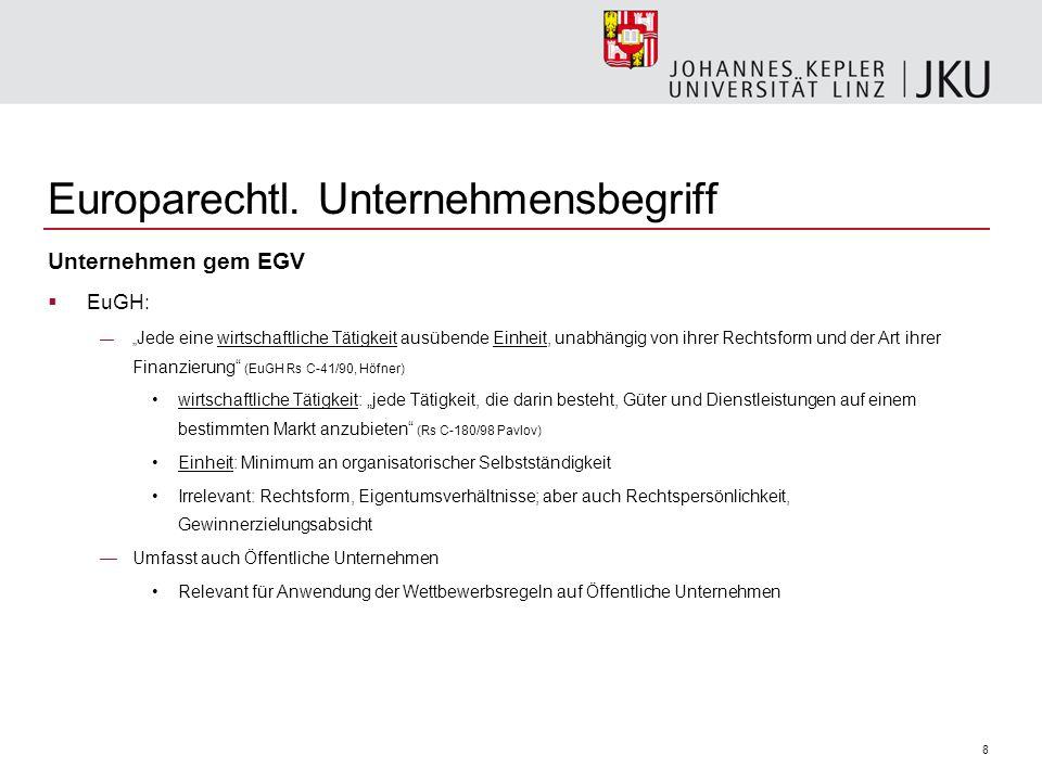 8 Europarechtl. Unternehmensbegriff Unternehmen gem EGV EuGH: Jede eine wirtschaftliche Tätigkeit ausübende Einheit, unabhängig von ihrer Rechtsform u
