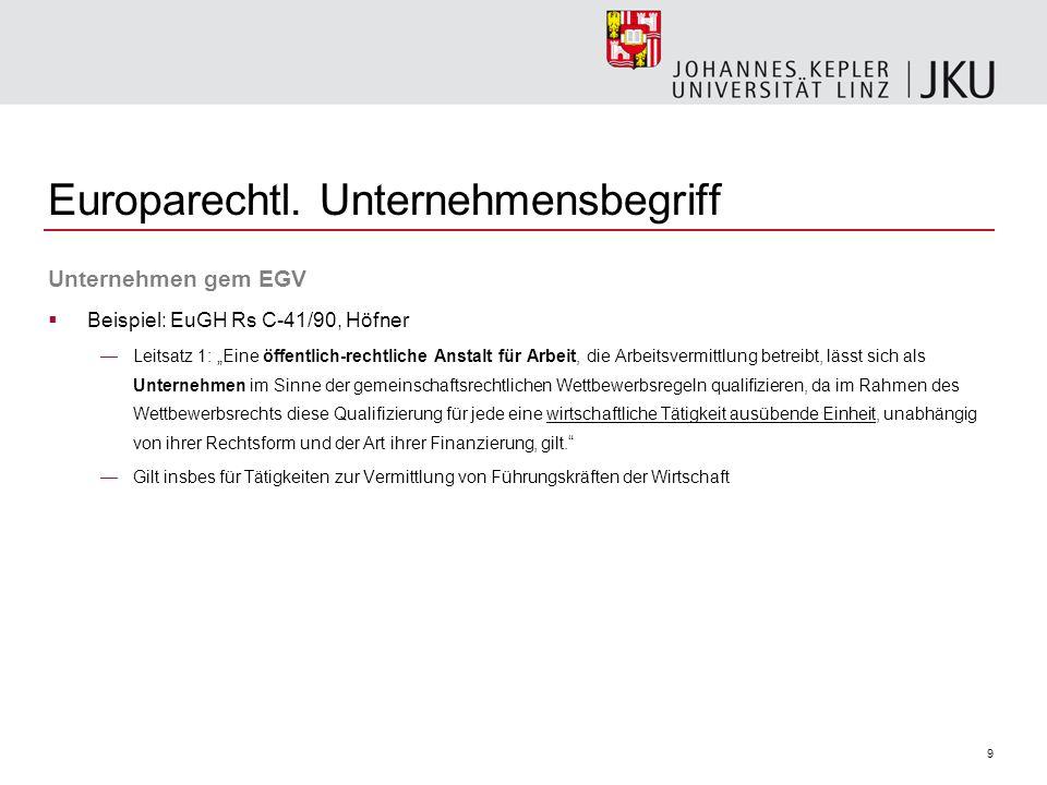 9 Europarechtl. Unternehmensbegriff Unternehmen gem EGV Beispiel: EuGH Rs C-41/90, Höfner Leitsatz 1: Eine öffentlich-rechtliche Anstalt für Arbeit, d