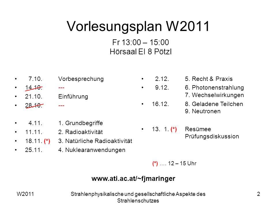 W2011Strahlenphysikalische und gesellschaftliche Aspekte des Strahlenschutzes 2 Vorlesungsplan W2011 7.10.