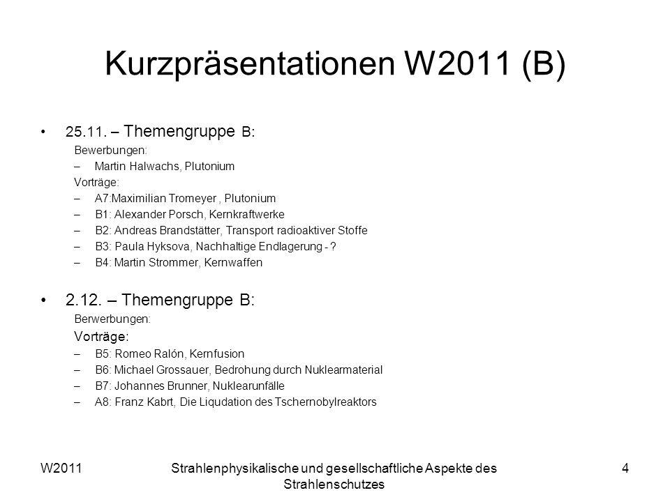 Kurzpräsentationen W2011 (B) 25.11.