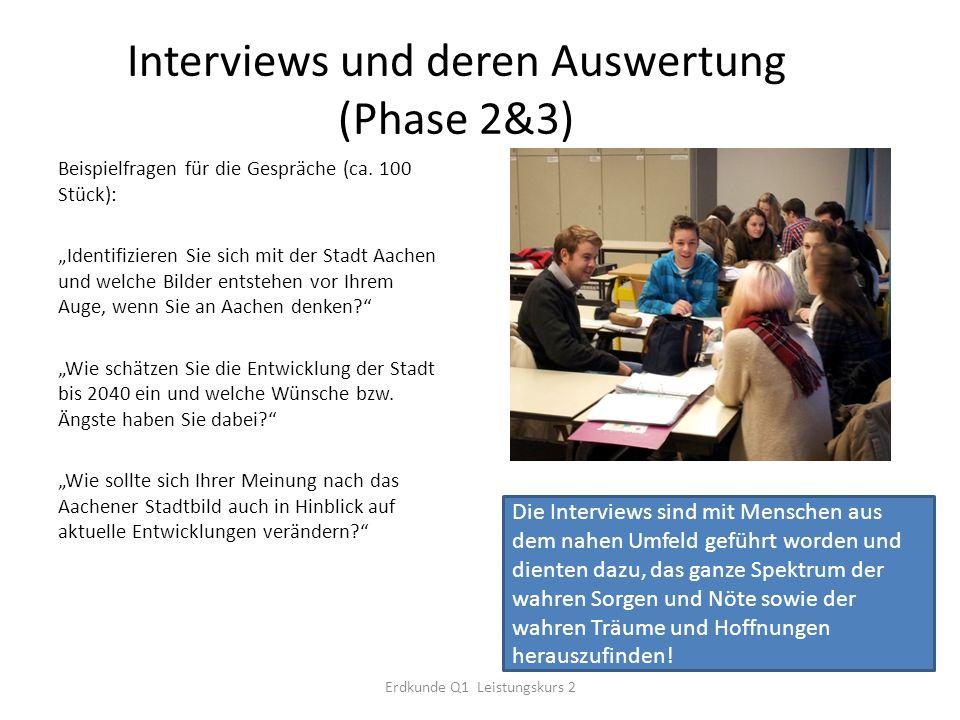 Interviews und deren Auswertung (Phase 2&3) Beispielfragen für die Gespräche (ca.