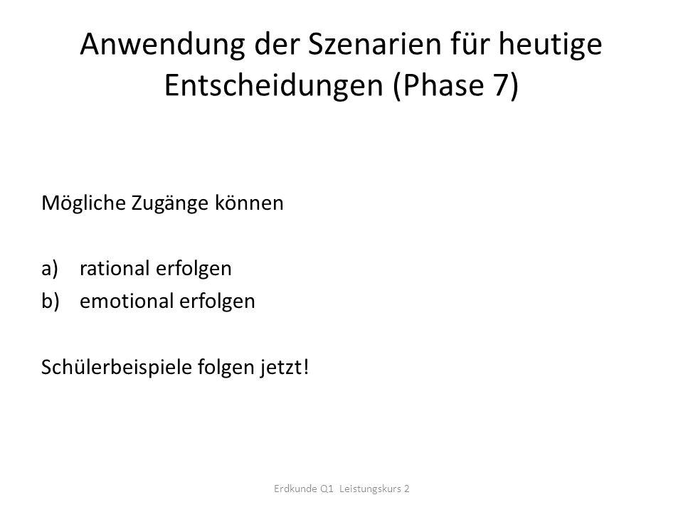 Anwendung der Szenarien für heutige Entscheidungen (Phase 7) Mögliche Zugänge können a)rational erfolgen b)emotional erfolgen Schülerbeispiele folgen jetzt.