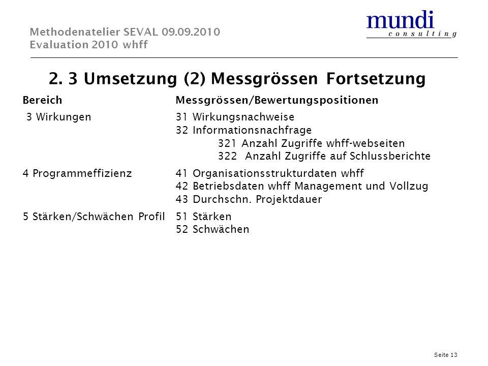 2. 3 Umsetzung (2) Messgrössen Fortsetzung Seite 13 Methodenatelier SEVAL 09.09.2010 Evaluation 2010 whff BereichMessgrössen/Bewertungspositionen 3 Wi