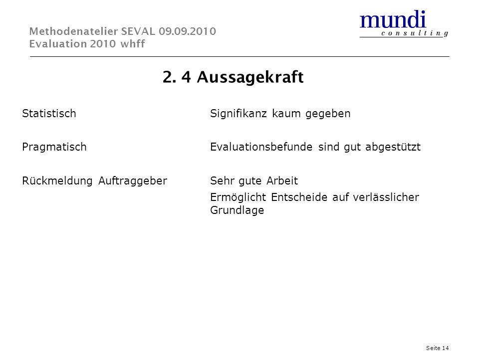 2. 4 Aussagekraft Seite 14 Methodenatelier SEVAL 09.09.2010 Evaluation 2010 whff StatistischSignifikanz kaum gegeben PragmatischEvaluationsbefunde sin