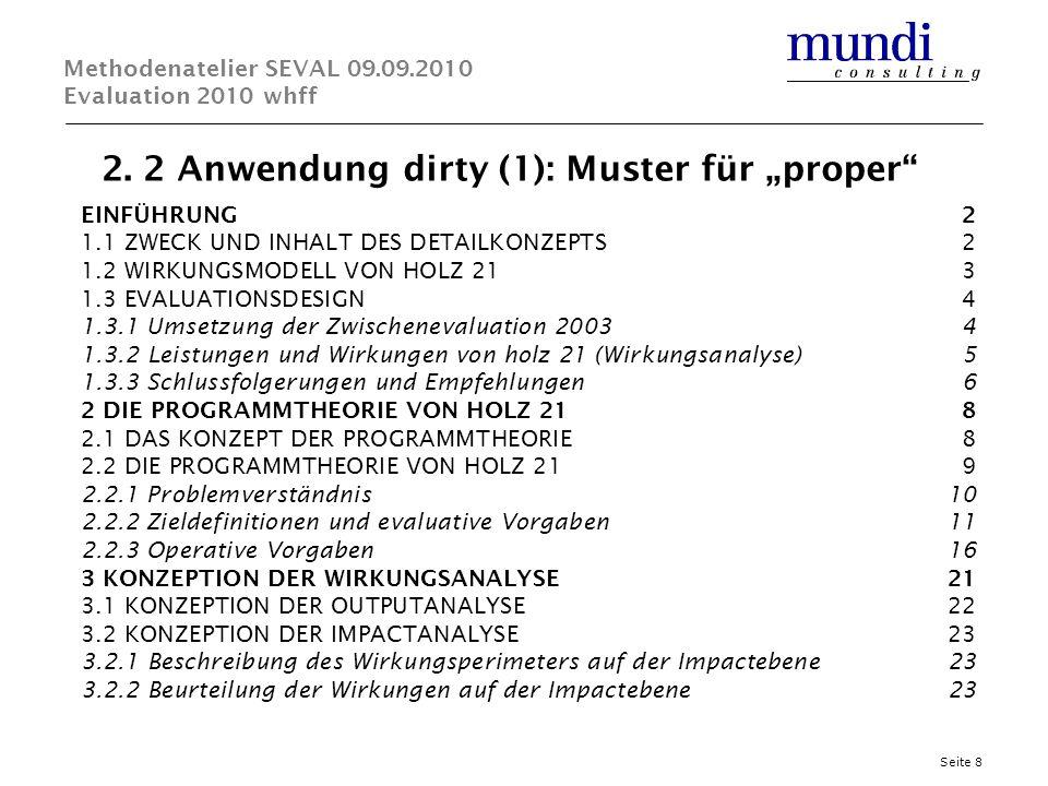 2. 2 Anwendung dirty (1): Muster für proper Seite 8 Methodenatelier SEVAL 09.09.2010 Evaluation 2010 whff EINFÜHRUNG2 1.1 ZWECK UND INHALT DES DETAILK