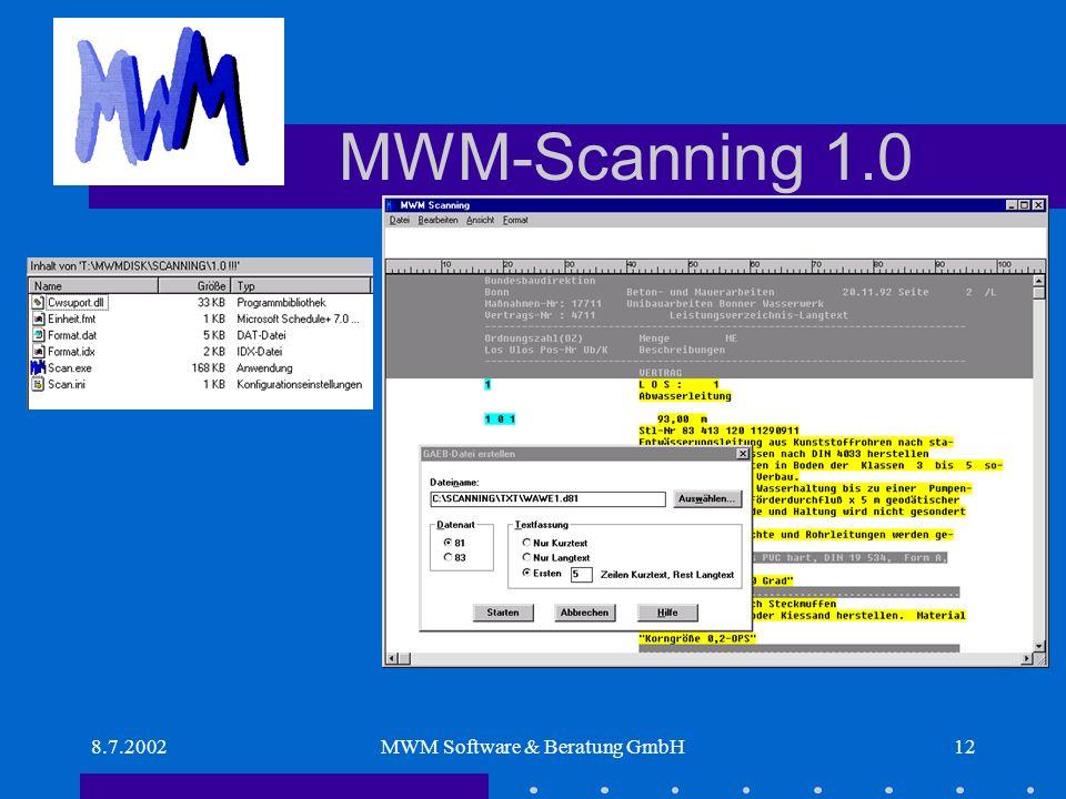 8.7.2002MWM Software & Beratung GmbH12 MWM-Scanning 1.0.