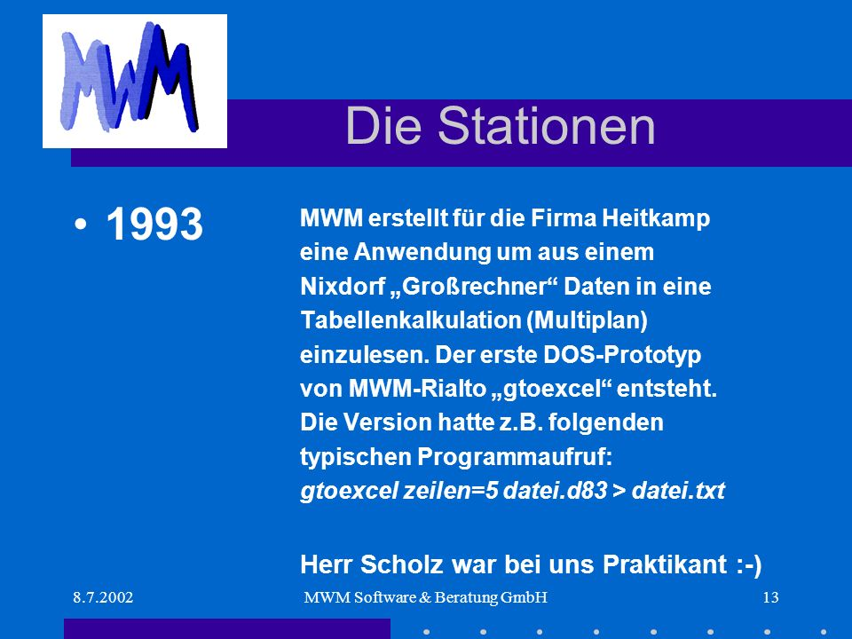 8.7.2002MWM Software & Beratung GmbH13 Die Stationen MWM erstellt für die Firma Heitkamp eine Anwendung um aus einem Nixdorf Großrechner Daten in eine Tabellenkalkulation (Multiplan) einzulesen.