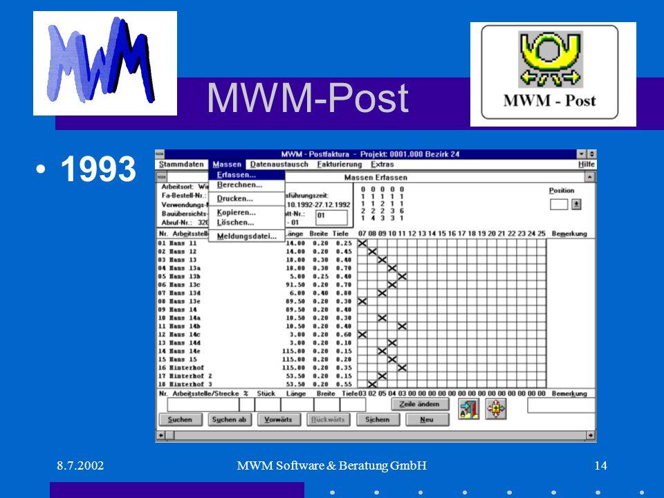 8.7.2002MWM Software & Beratung GmbH14 MWM-Post 1993