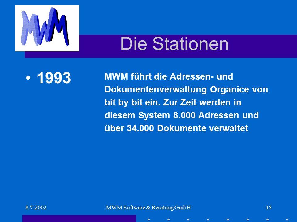 8.7.2002MWM Software & Beratung GmbH15 Die Stationen MWM führt die Adressen- und Dokumentenverwaltung Organice von bit by bit ein.