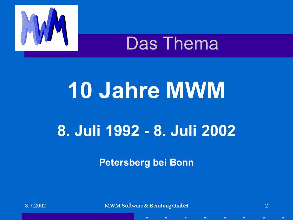 8.7.2002MWM Software & Beratung GmbH3 Tagesablauf 10.00Begrüßung und VorstellungWilhelm Veenhuis 10.1510 Jahre MWMWilhelm Veenhuis 11.00Trends in der BauinformatikProf.
