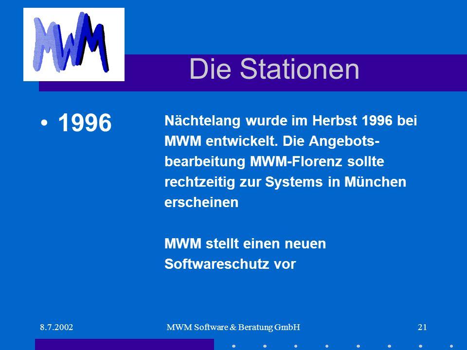 8.7.2002MWM Software & Beratung GmbH21 Die Stationen Nächtelang wurde im Herbst 1996 bei MWM entwickelt.