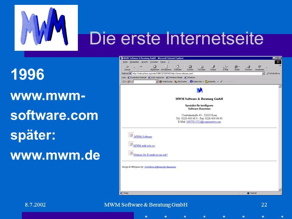 8.7.2002MWM Software & Beratung GmbH22 Die erste Internetseite 1996 www.mwm- software.com später: www.mwm.de