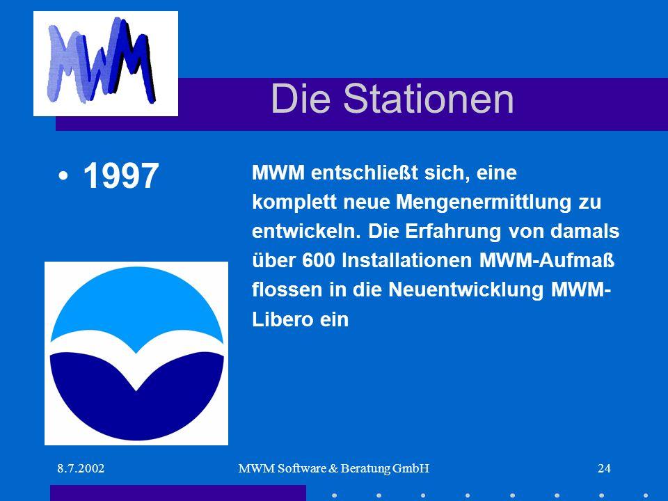 8.7.2002MWM Software & Beratung GmbH24 Die Stationen MWM entschließt sich, eine komplett neue Mengenermittlung zu entwickeln.