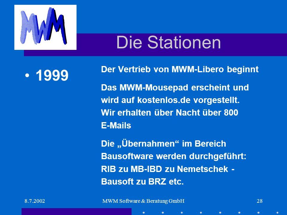 8.7.2002MWM Software & Beratung GmbH28 Die Stationen Der Vertrieb von MWM-Libero beginnt Das MWM-Mousepad erscheint und wird auf kostenlos.de vorgestellt.