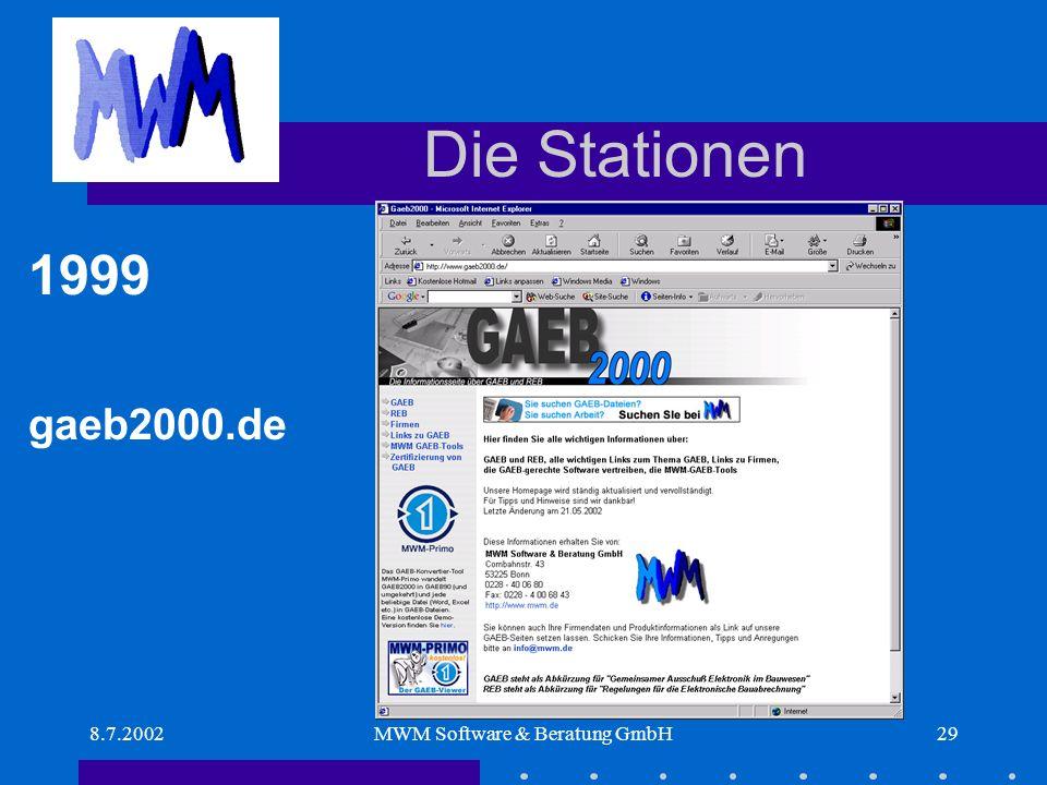8.7.2002MWM Software & Beratung GmbH29 Die Stationen 1999 gaeb2000.de