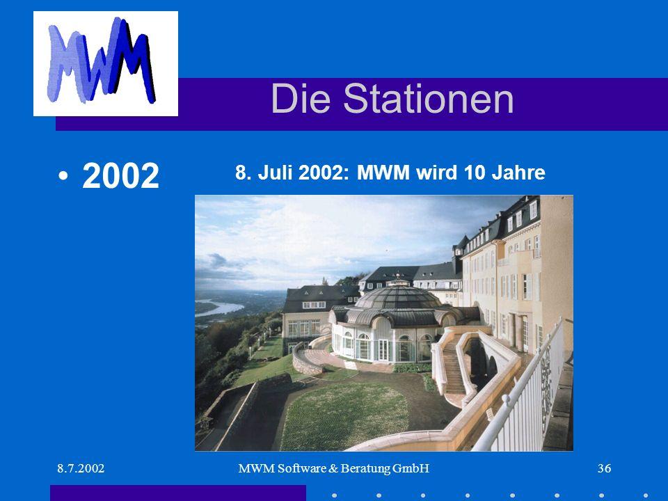 8.7.2002MWM Software & Beratung GmbH36 Die Stationen 8. Juli 2002: MWM wird 10 Jahre 2002