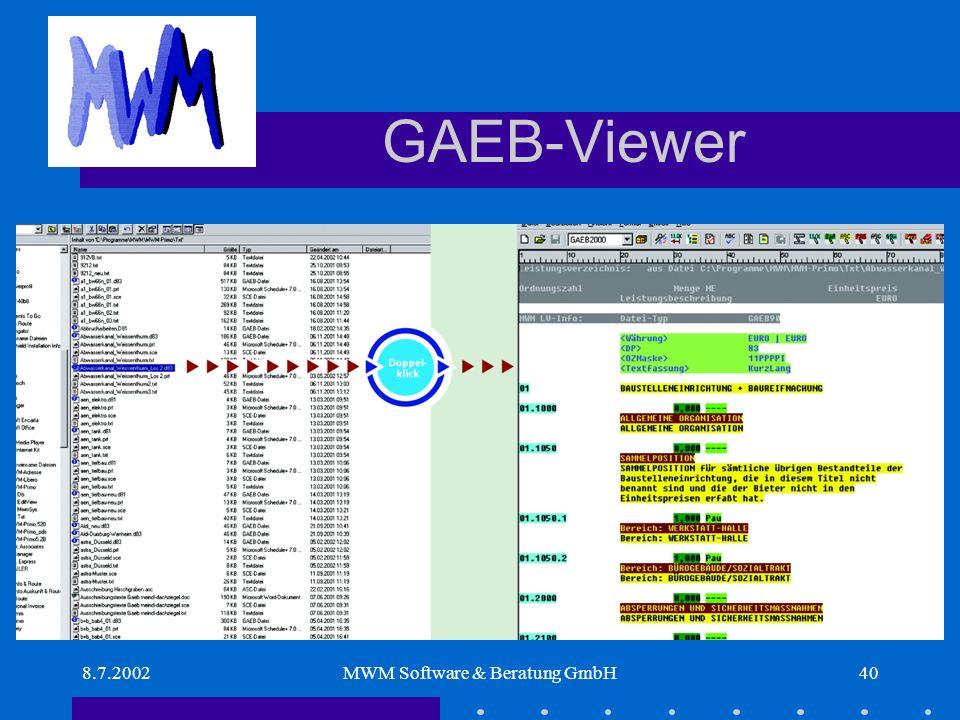 8.7.2002MWM Software & Beratung GmbH40 GAEB-Viewer