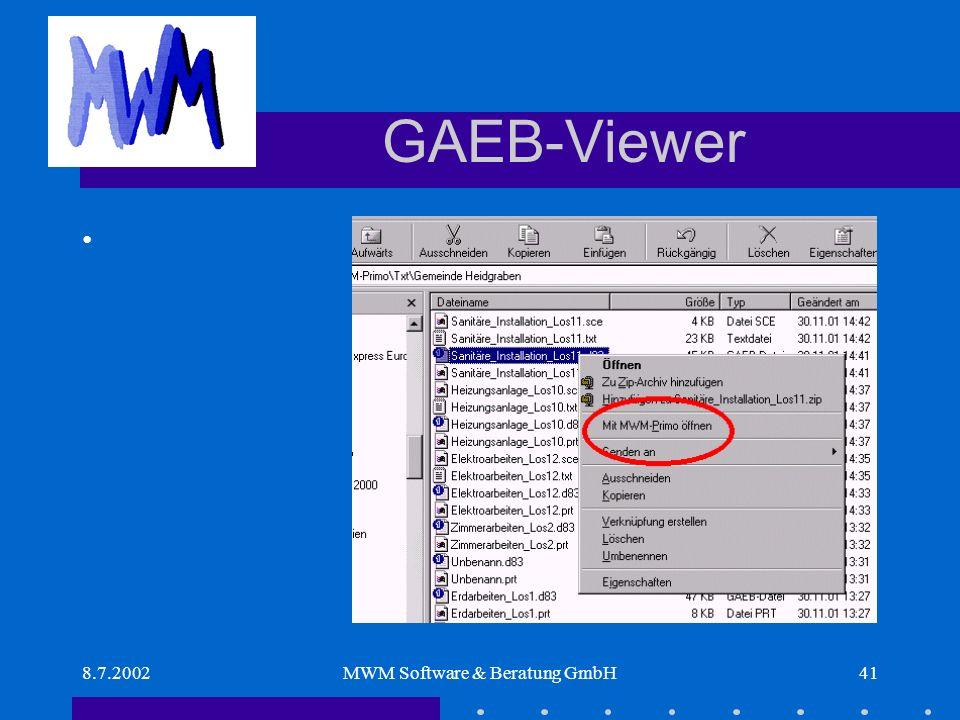 8.7.2002MWM Software & Beratung GmbH41 GAEB-Viewer
