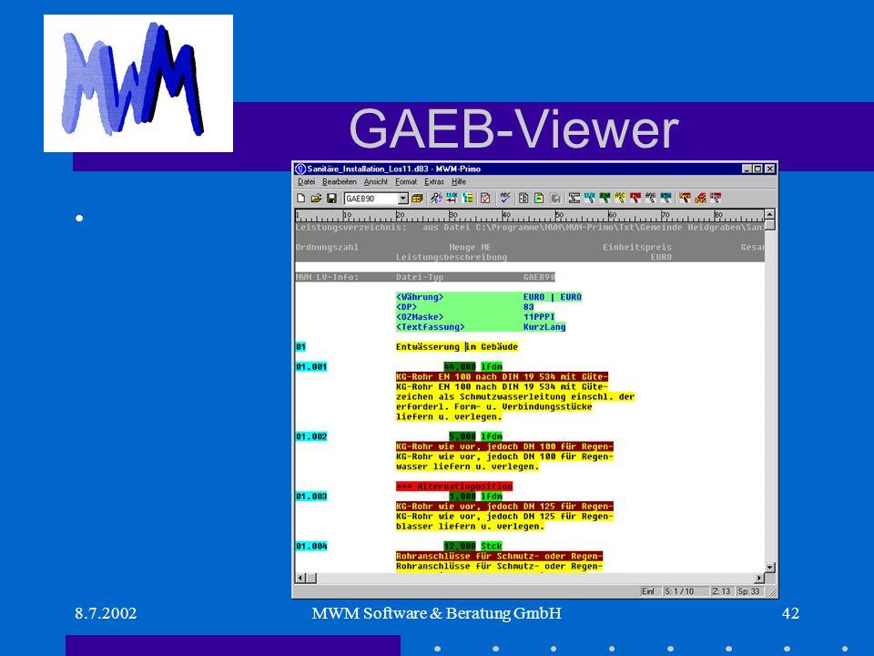 8.7.2002MWM Software & Beratung GmbH42 GAEB-Viewer