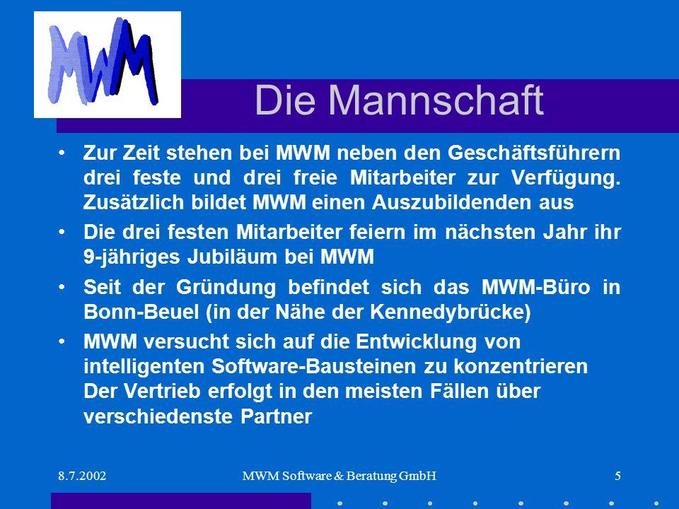 8.7.2002MWM Software & Beratung GmbH5 Die Mannschaft Zur Zeit stehen bei MWM neben den Geschäftsführern drei feste und drei freie Mitarbeiter zur Verfügung.