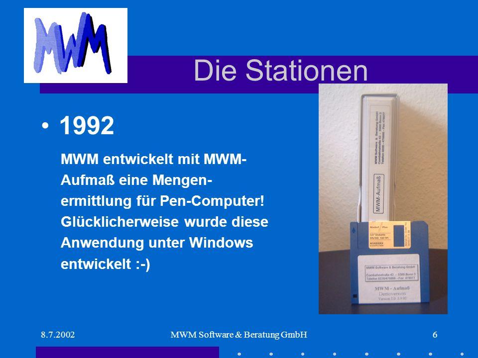 8.7.2002MWM Software & Beratung GmbH37 Das Ergebnis MWM-Primo4.000 Lizenzen MWM-Libero615 Lizenzen MWM-Florenz371 Lizenzen MWM-Rialto317 Lizenzen MWM-Aufmaß918 Lizenzen Über 6.200 MWM-Software-Lizenzen sind im Einsatz Stand der Information : Juli 2002