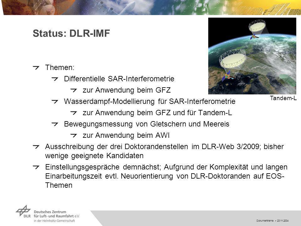 Dokumentname > 23.11.2004 Status: DLR-IMF Themen: Differentielle SAR-Interferometrie zur Anwendung beim GFZ Wasserdampf-Modellierung für SAR-Interferometrie zur Anwendung beim GFZ und für Tandem-L Bewegungsmessung von Gletschern und Meereis zur Anwendung beim AWI Ausschreibung der drei Doktorandenstellen im DLR-Web 3/2009; bisher wenige geeignete Kandidaten Einstellungsgespräche demnächst; Aufgrund der Komplexität und langen Einarbeitungszeit evtl.