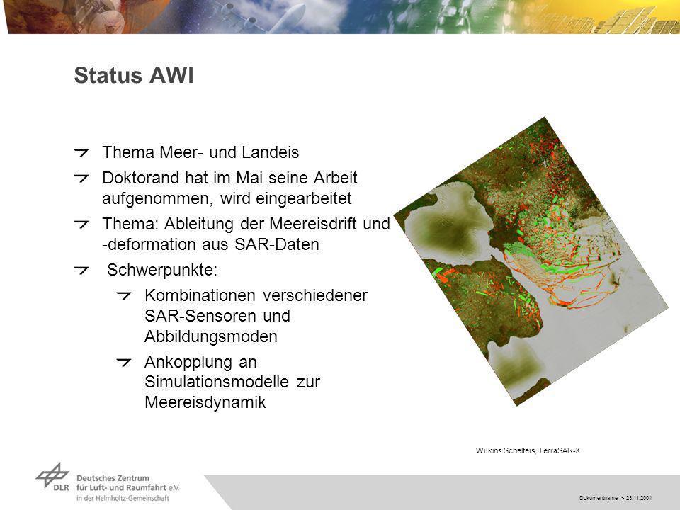 Dokumentname > 23.11.2004 Status AWI Thema Meer- und Landeis Doktorand hat im Mai seine Arbeit aufgenommen, wird eingearbeitet Thema: Ableitung der Meereisdrift und -deformation aus SAR-Daten Schwerpunkte: Kombinationen verschiedener SAR-Sensoren und Abbildungsmoden Ankopplung an Simulationsmodelle zur Meereisdynamik Wilkins Schelfeis, TerraSAR-X