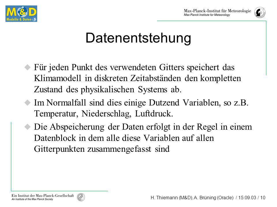 H. Thiemann (M&D), A. Brüning (Oracle) / 15.09.03 / 10 Datenentstehung Für jeden Punkt des verwendeten Gitters speichert das Klimamodell in diskreten