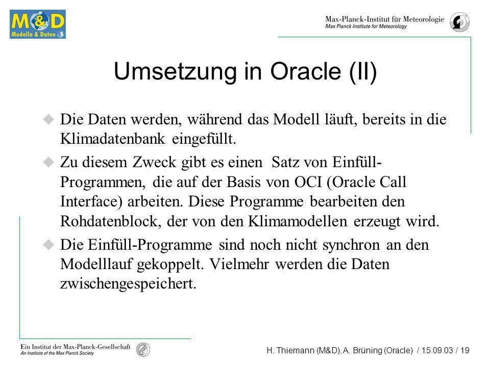 H. Thiemann (M&D), A. Brüning (Oracle) / 15.09.03 / 19 Umsetzung in Oracle (II) Die Daten werden, während das Modell läuft, bereits in die Klimadatenb