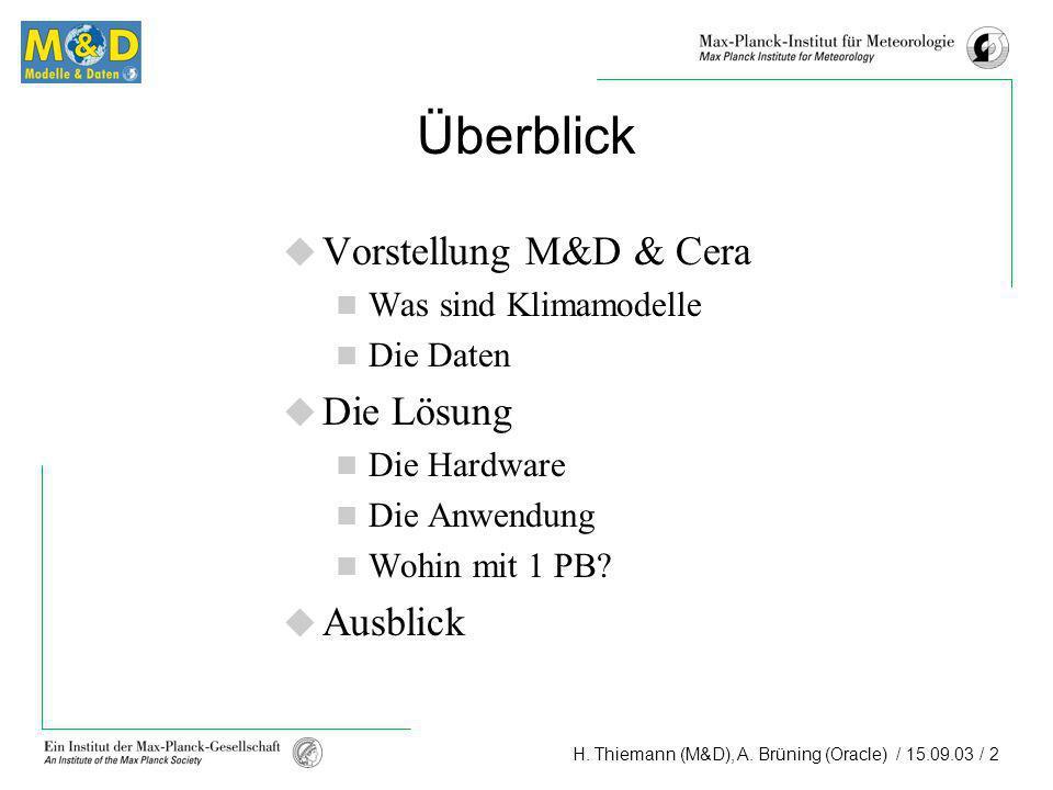 H. Thiemann (M&D), A. Brüning (Oracle) / 15.09.03 / 2 Überblick Vorstellung M&D & Cera Was sind Klimamodelle Die Daten Die Lösung Die Hardware Die Anw