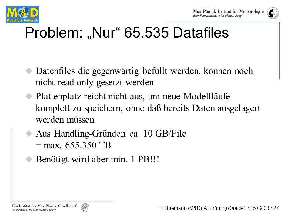 H. Thiemann (M&D), A. Brüning (Oracle) / 15.09.03 / 27 Problem: Nur 65.535 Datafiles Datenfiles die gegenwärtig befüllt werden, können noch nicht read