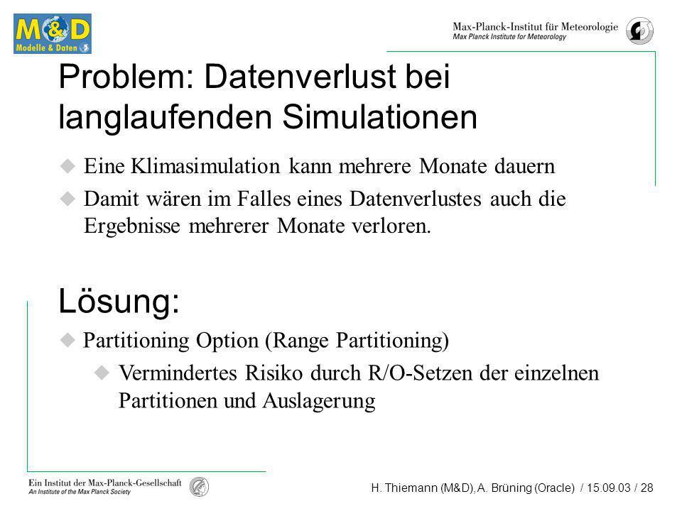 H. Thiemann (M&D), A. Brüning (Oracle) / 15.09.03 / 28 Problem: Datenverlust bei langlaufenden Simulationen Eine Klimasimulation kann mehrere Monate d