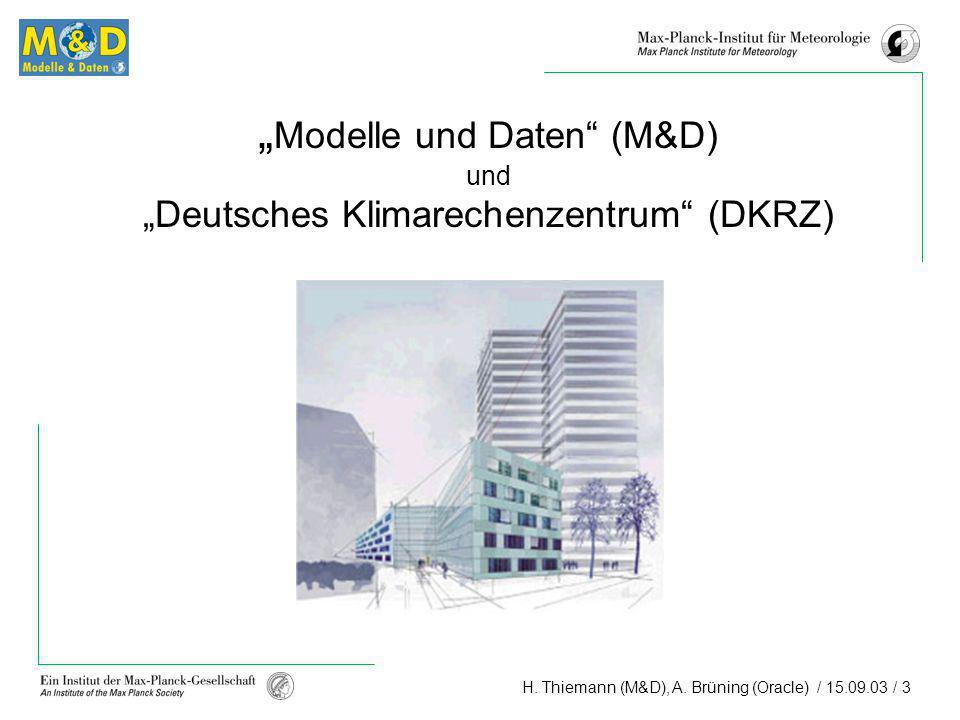 H. Thiemann (M&D), A. Brüning (Oracle) / 15.09.03 / 3 Modelle und Daten (M&D) und Deutsches Klimarechenzentrum (DKRZ)