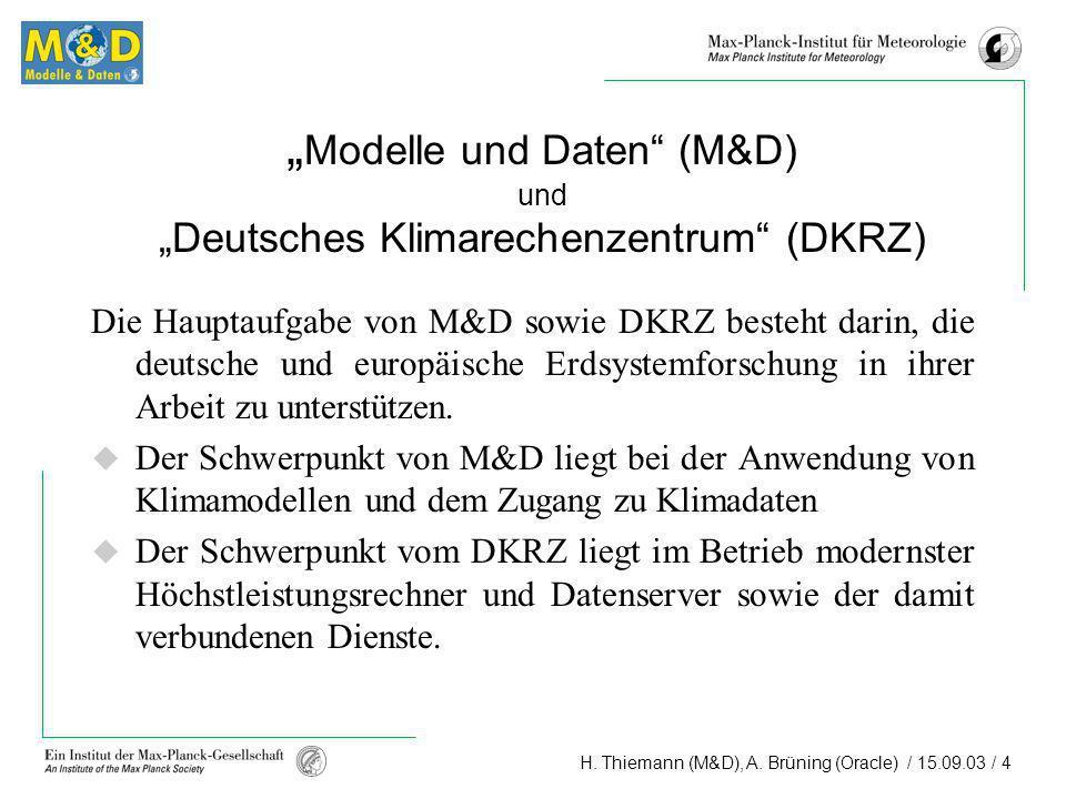 H. Thiemann (M&D), A. Brüning (Oracle) / 15.09.03 / 4 Modelle und Daten (M&D) und Deutsches Klimarechenzentrum (DKRZ) Die Hauptaufgabe von M&D sowie D