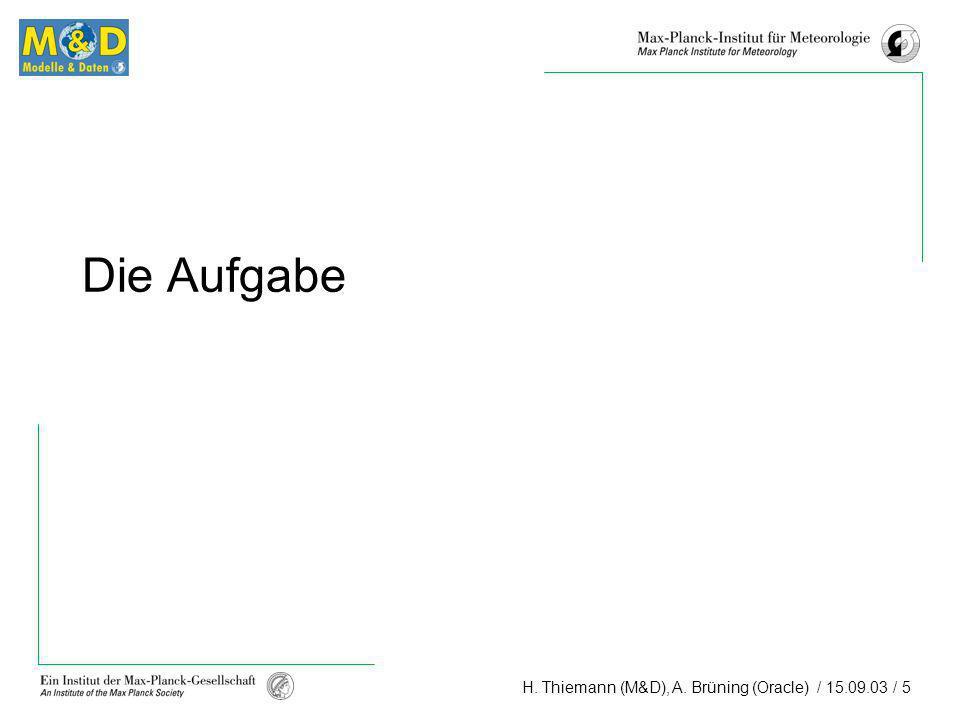 H. Thiemann (M&D), A. Brüning (Oracle) / 15.09.03 / 5 Die Aufgabe